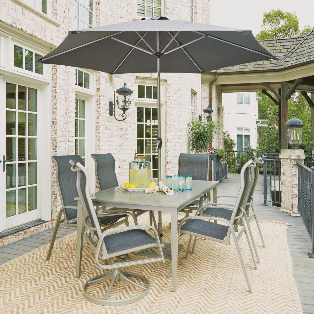 Daytona Charcoal Gray 9-Piece Aluminum Rectangular Outdoor Dining Set