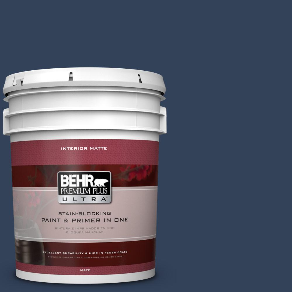BEHR Premium Plus Ultra 5 gal. #590F-7 Peaceful Night Flat/Matte Interior Paint