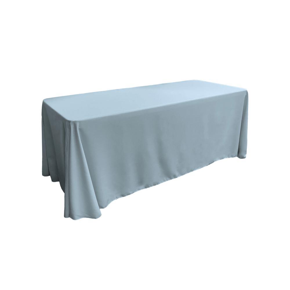 90 in. x 156 in. Light Blue Polyester Poplin Rectangular Tablecloth