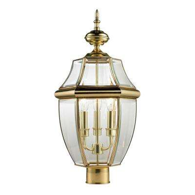 Ashford 3-Light Outdoor Brass and Gold Post Lantern