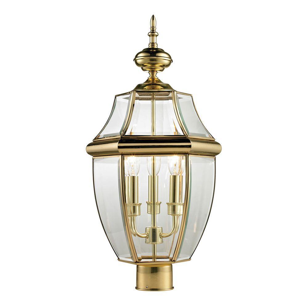 Titan Lighting Ashford 3-Light Outdoor Brass and Gold Post Lantern