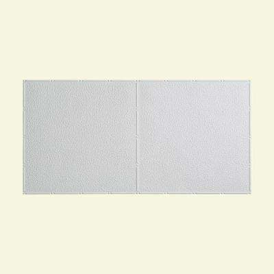 Hammered - 2 ft. x 4 ft. Glue-up Ceiling Tile in Gloss White
