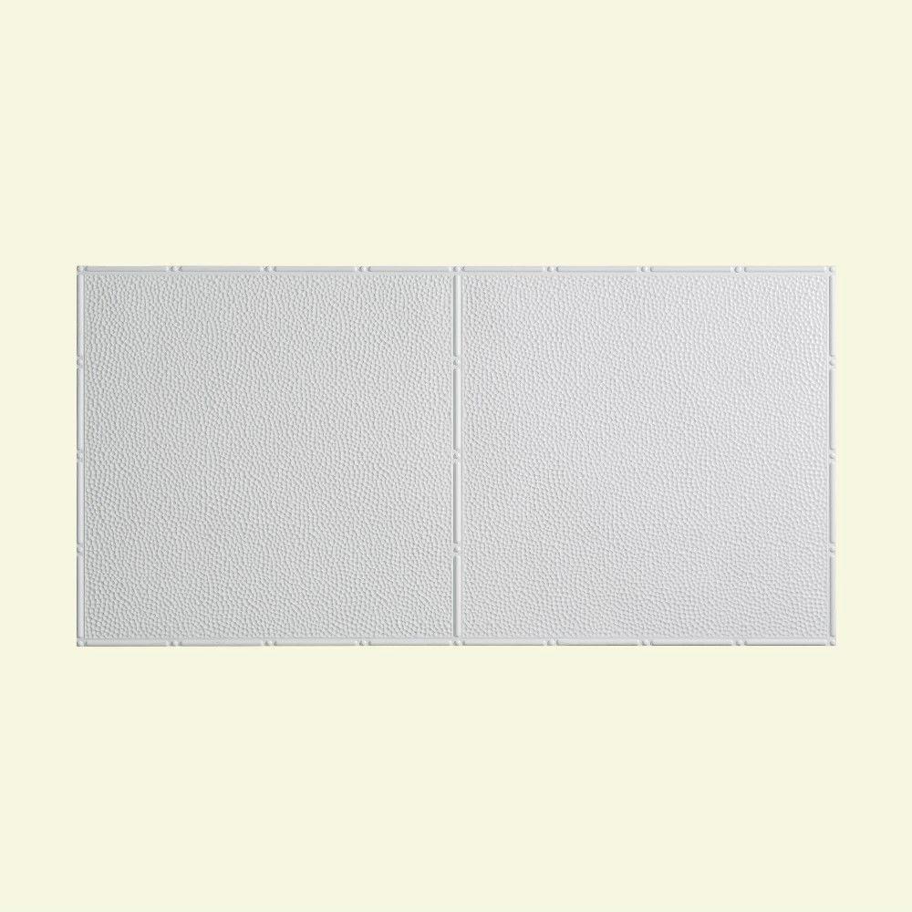 Hammered - 2 ft. x 4 ft. Vinyl Glue-Up Ceiling Tile in Gloss White