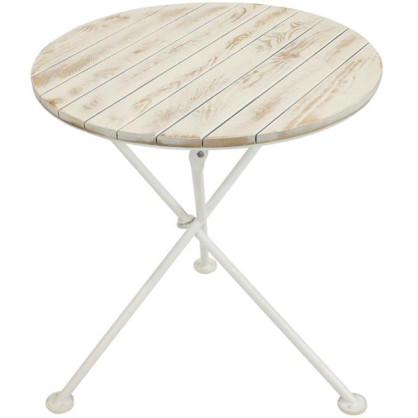 French Country European Chestnut 28 in. Round Wood Round Patio Bistro Table