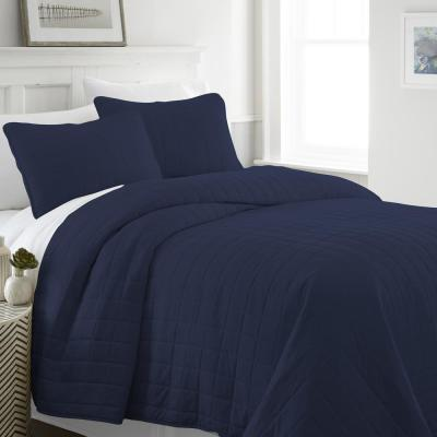 Square Navy Queen Performance Quilted Coverlet Set