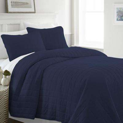 Square Navy Twin Performance Quilted Coverlet Set