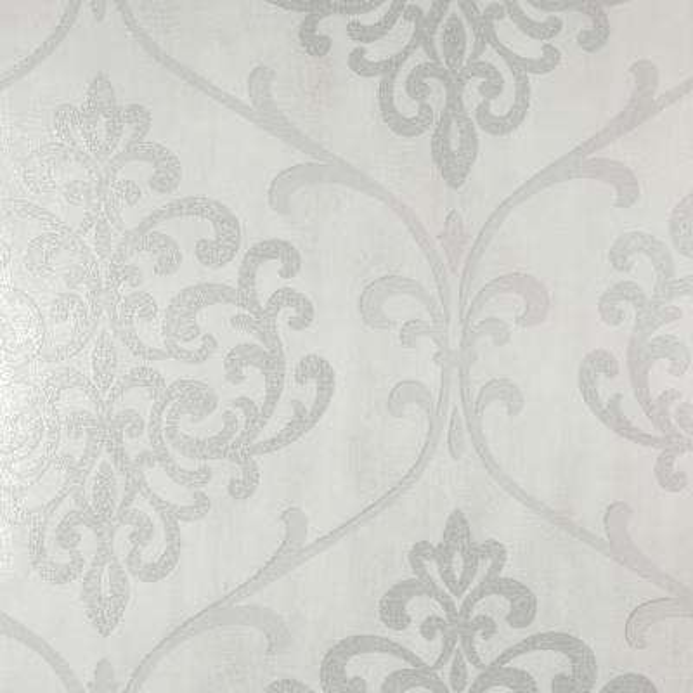 8 in. x 10 in. Ambrosia Silver Glitter Damask Wallpaper Sample
