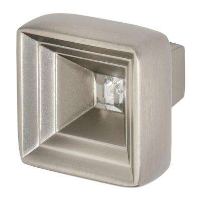Hidden Treasure 1-1/16 in. Satin Nickel with Clear Crystal Cabinet Knob