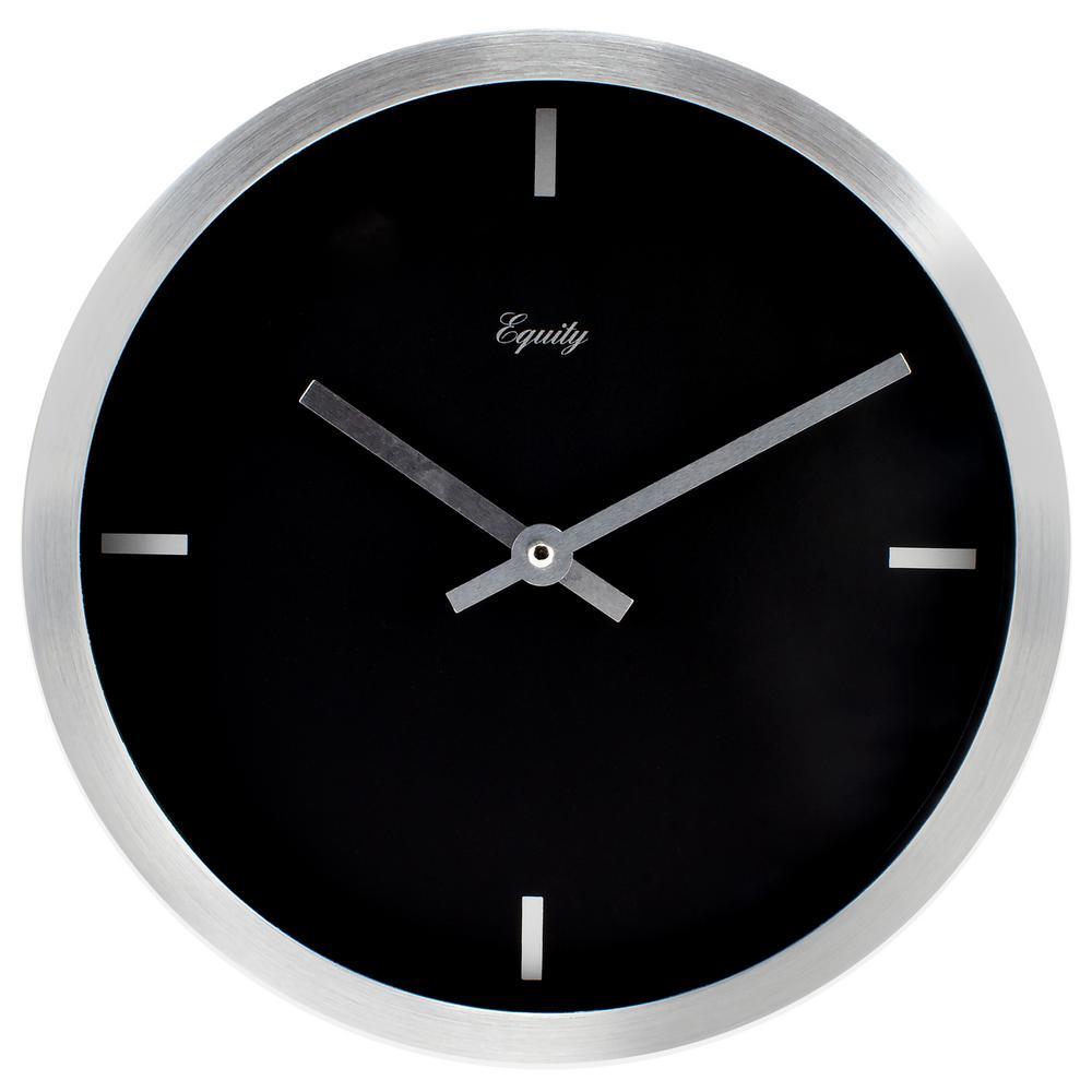 La crosse technology 10 in round analog black frame wall clock round brushed aluminum analog wall clock amipublicfo Choice Image