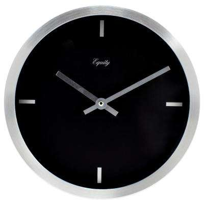 10 in. Round Brushed Aluminum Analog Wall Clock