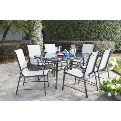 Perfect Paloma 7 Piece Steel Patio Dining Set With Tempered Glass Table Top