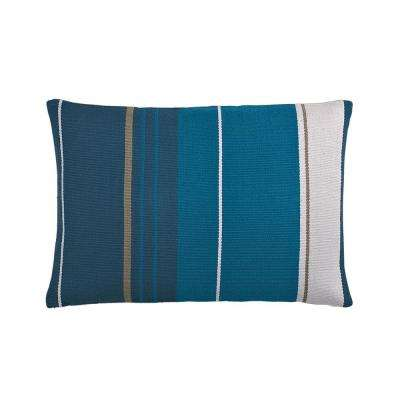 16 in. x 24 in. Teal Striped Pillow Cover