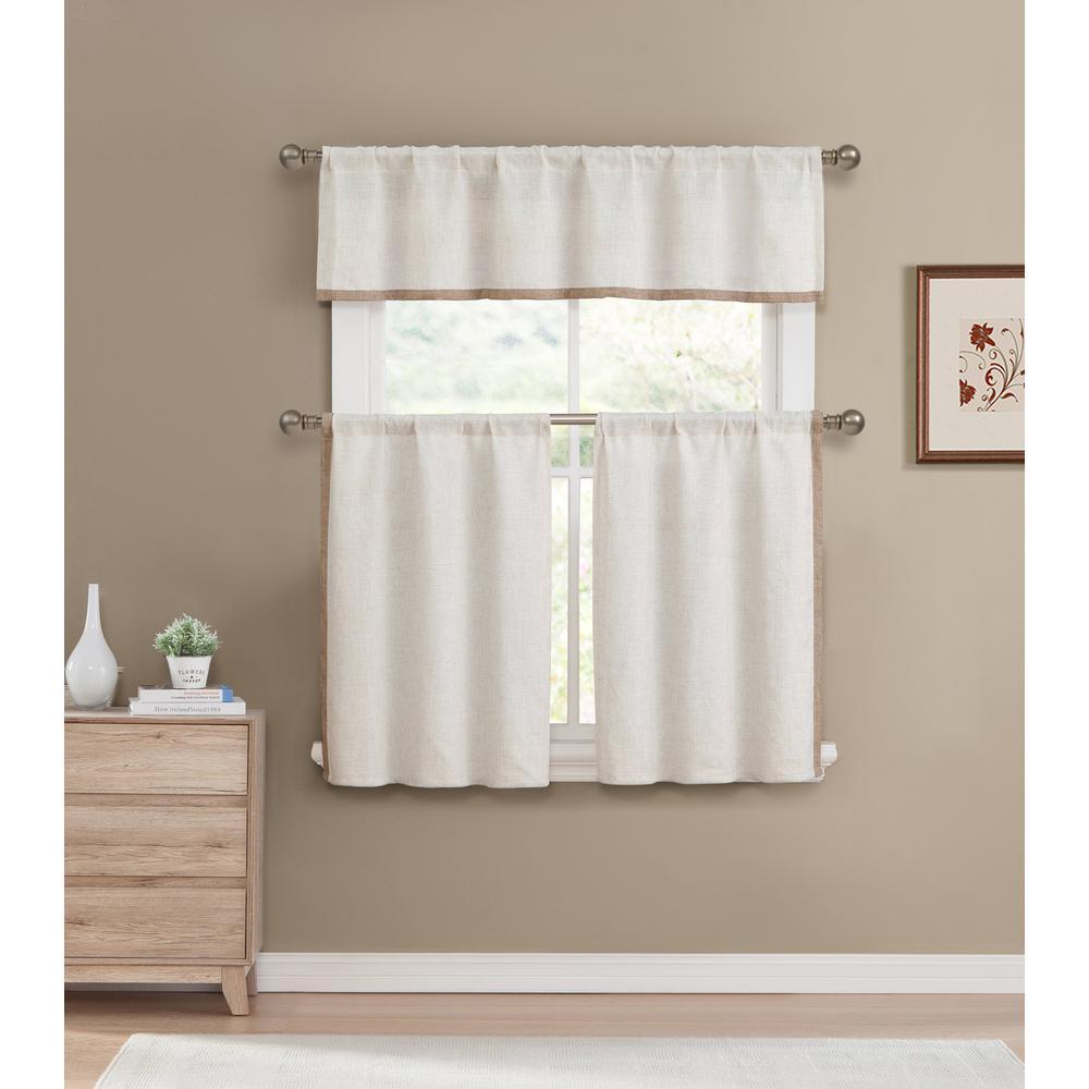 Koti Home Maison Linen-Wheat Kitchen Curtain Set - 58 in. W x 15 in. L (3-Piece)