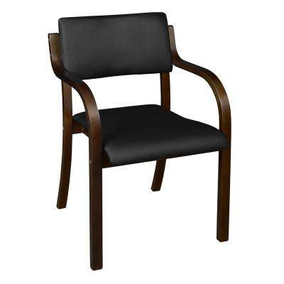 Mia Mocha Walnut/Black Vinyl Bentwood Stack Chair