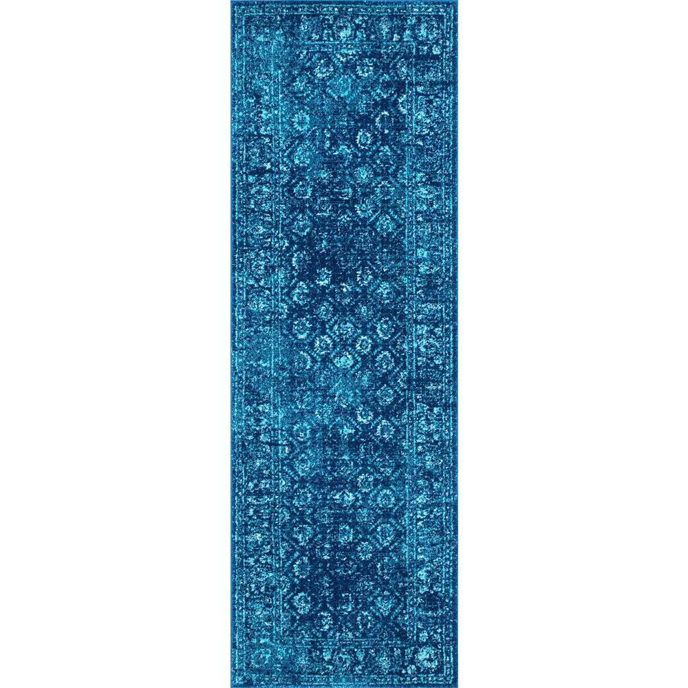 nuLOOM Herminia Vintage Trellis Blue 3 ft. x 8 ft. Runner Rug