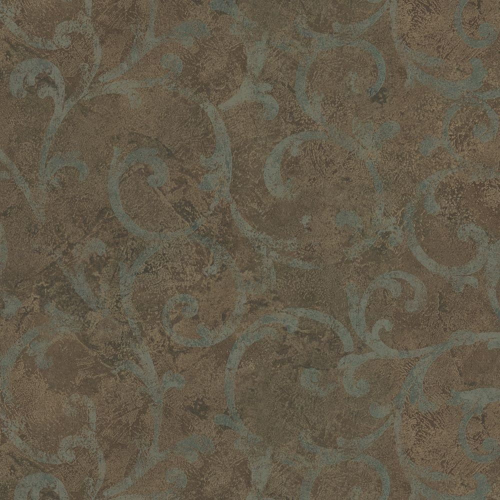 Brewster 8 in. W x 10 in. H Marble Textured Scroll Wallpaper Sample
