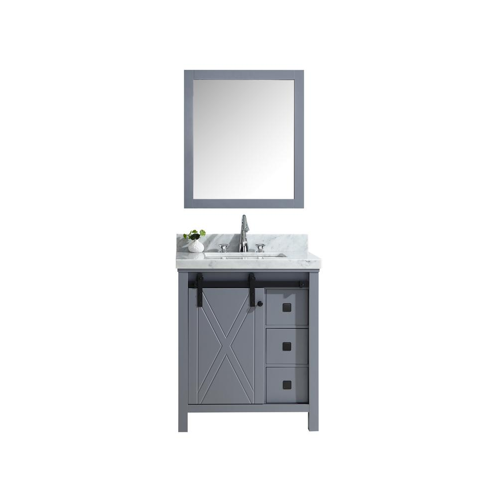 Lexora Marsyas Veluti 30 in. Single Bath Vanity in Dark Grey w/ White Carrera Marble Top w/ White Square Sink and 28 in. Mirror