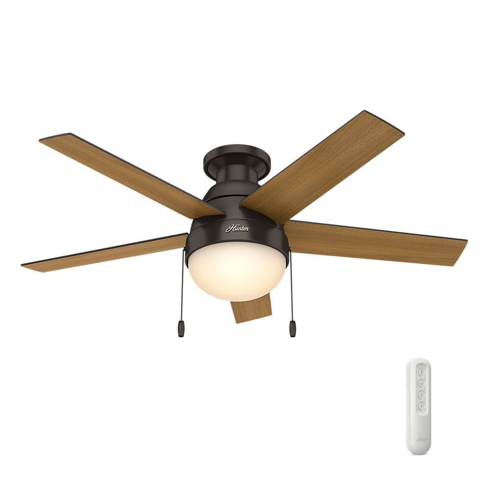 Indoor Low Profile Premier Bronze Ceiling Fan With Light Bundled