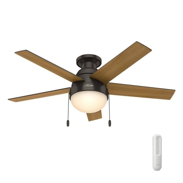 Anslee 46 in. Indoor Low Profile Premier Bronze Ceiling Fan with Light bundled with Handheld Remote Control