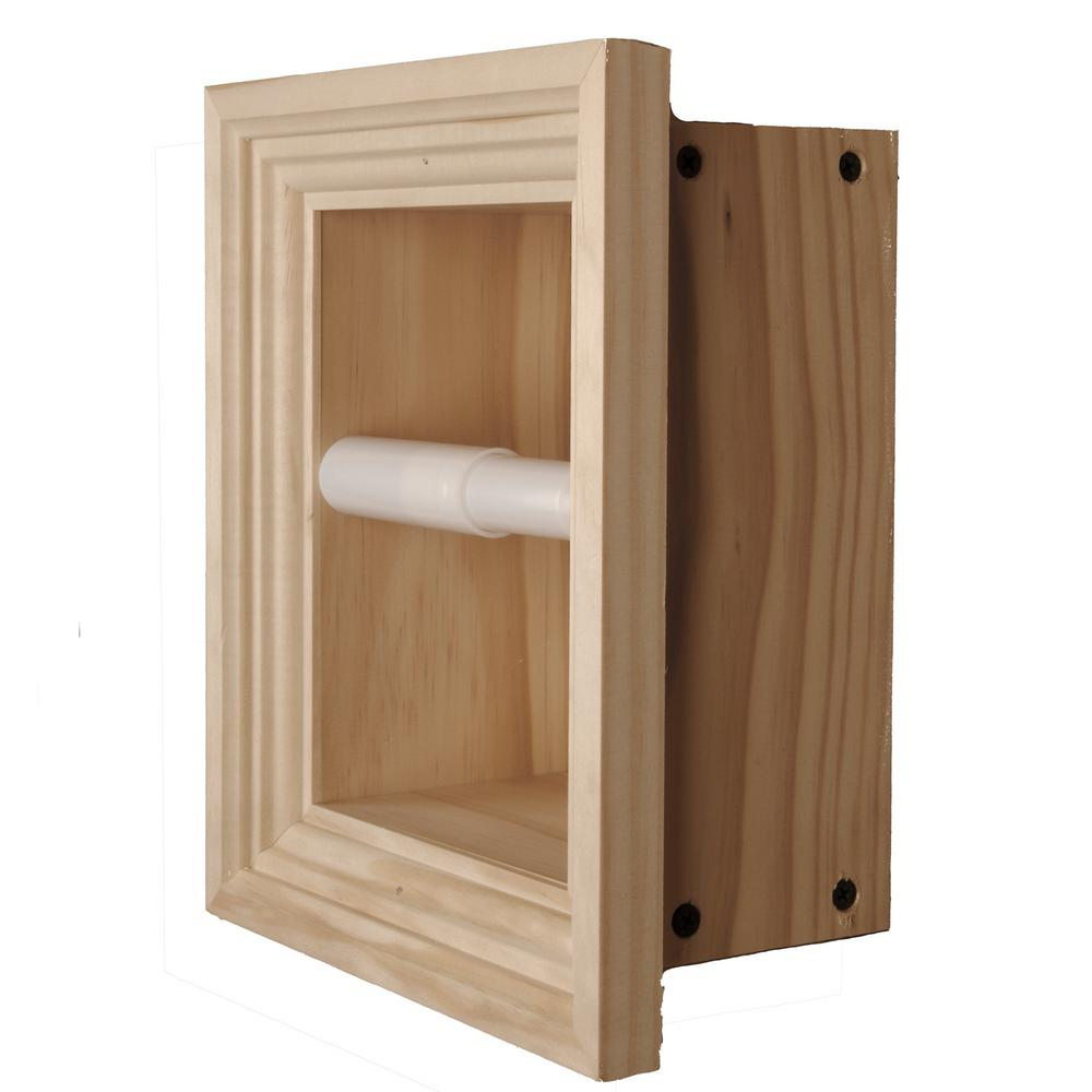 Newton recessed toilet paper holder 3 holder in unfinished Wood toilet paper holders