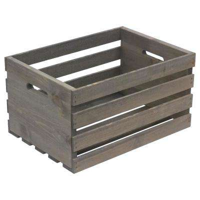 Large Weathered Gray Wood Crate
