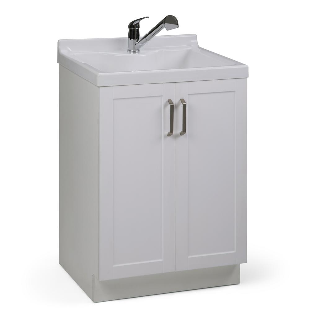 H Laundry Cabinet With Pull Out Faucet And Abs Utility Sink
