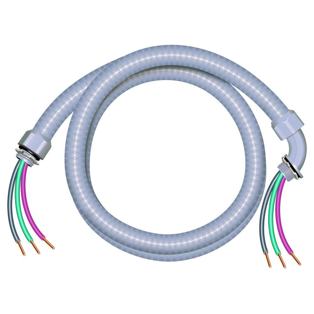 Southwire 1/2 in. x 6 ft. 10/3 Ultra-Whip Liquidtight Flexible Non ...