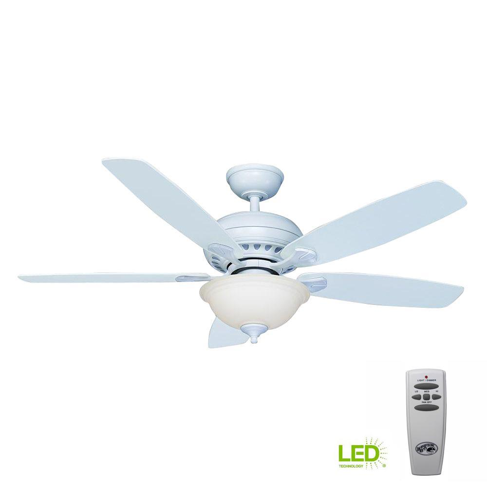 Hampton Bay Southwind 52 In Led Indoor Matte White Ceiling Fan With Light Kit And