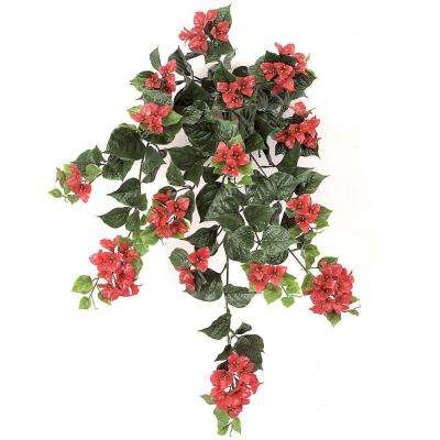 36 in. Artificial Fade-Resistant Plastic Outdoor Rich Red Bougainvillea Bush