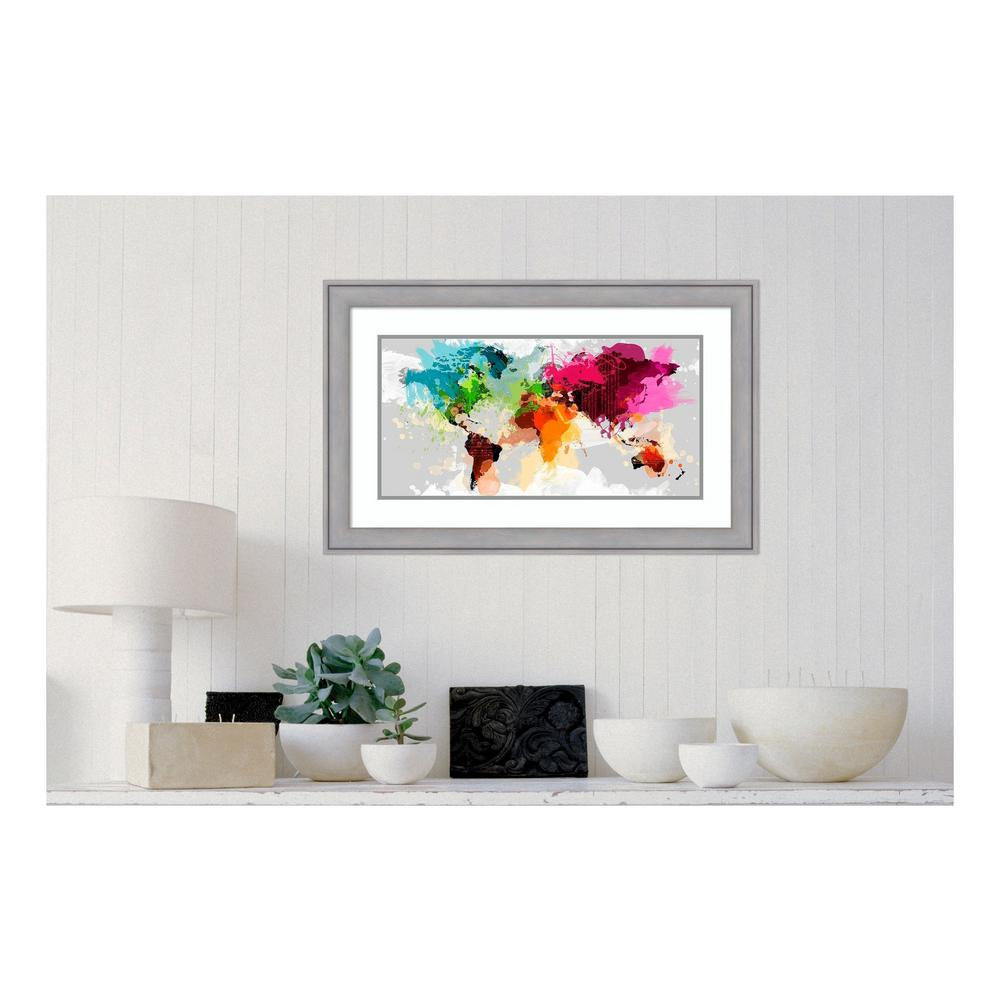 "21 in. H x 33 in. W ""Colourful World Map"" by"