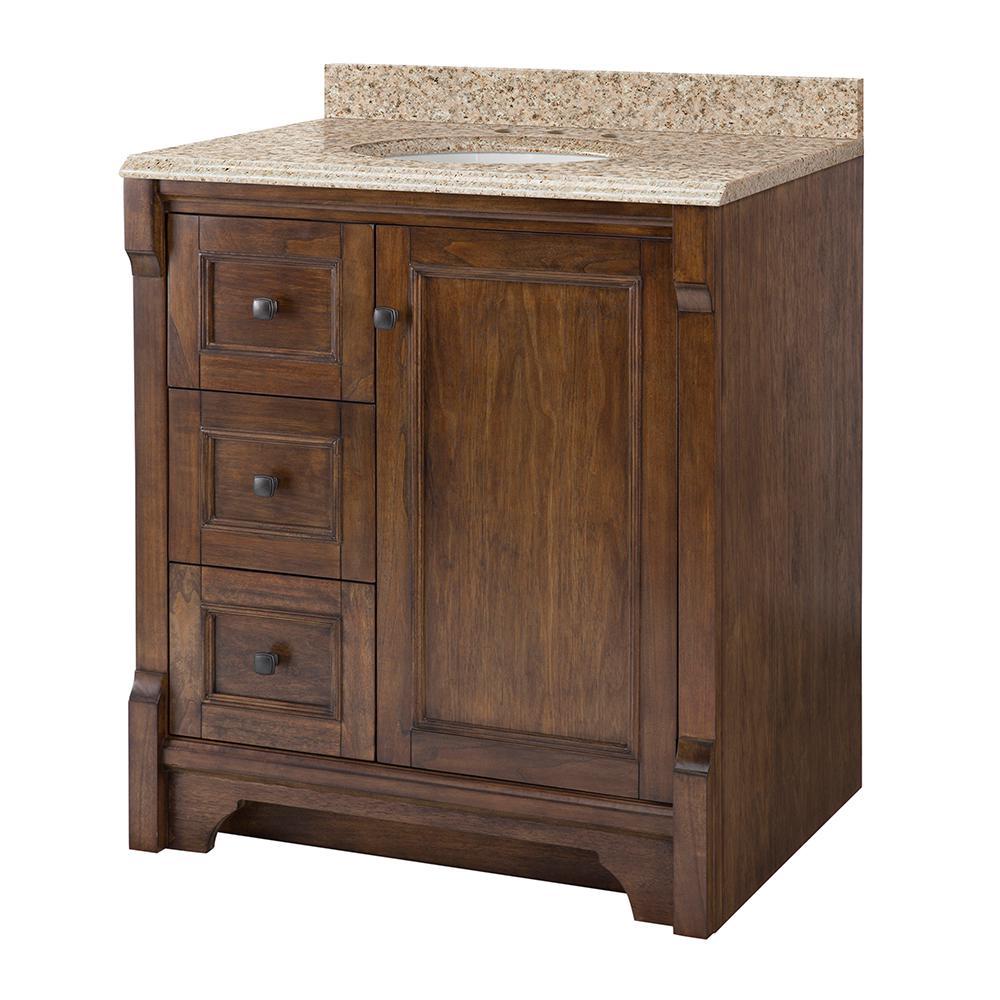 Home Decorators Collection Creedmoor 31 in W x 22 in D Vanity in Walnut with Granite Vanity Top in Beige with White Sink