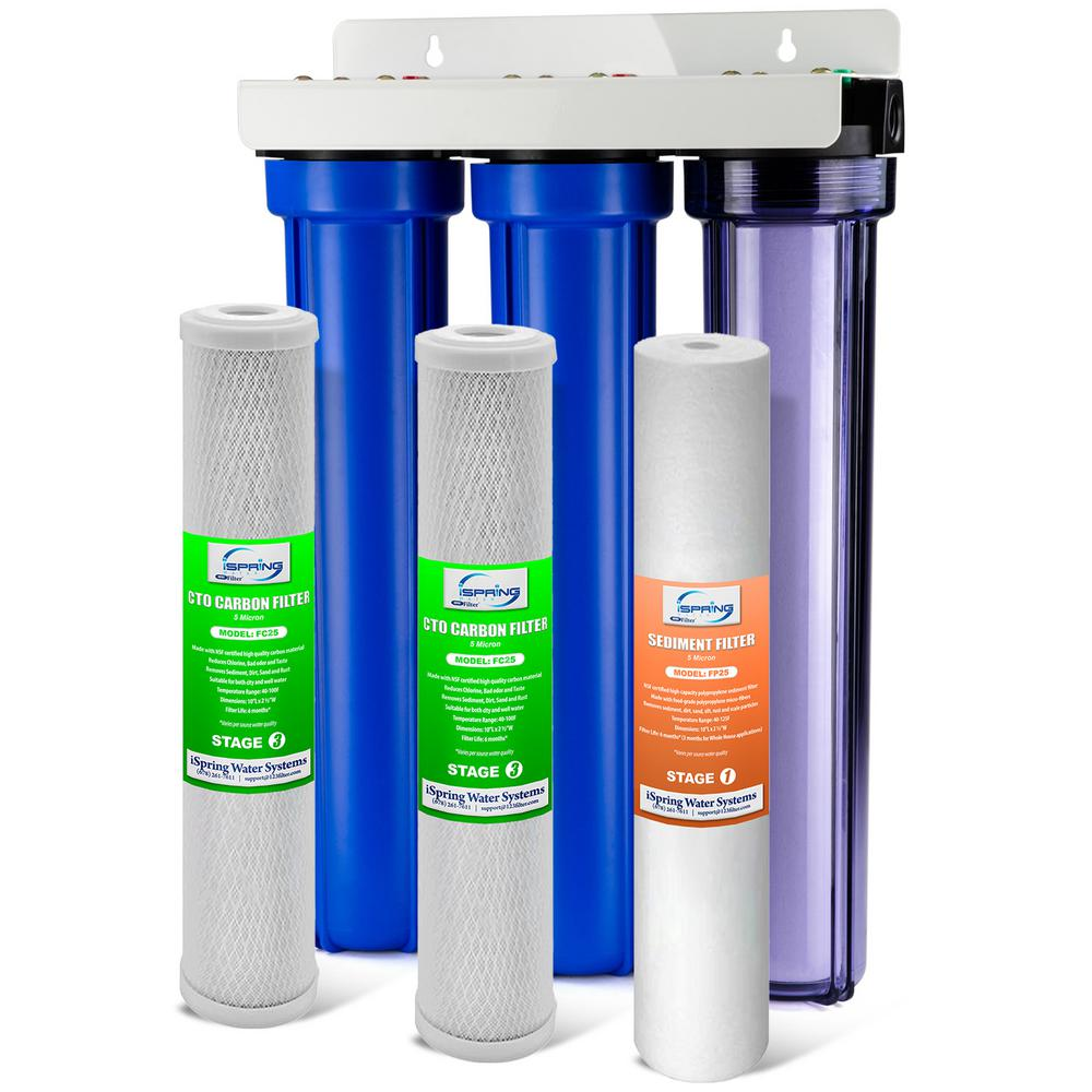 ISPRING 3-Stage 20 in. Whole House Water Filter with 3/4 in. NPT Carbon and Clear Housing on First Stage