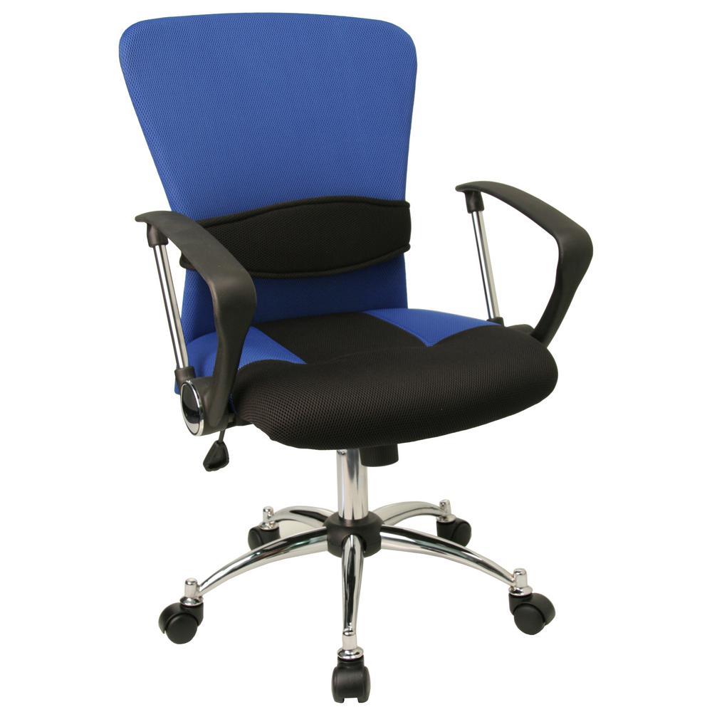 Mid-Back Blue Mesh Swivel Task Chair