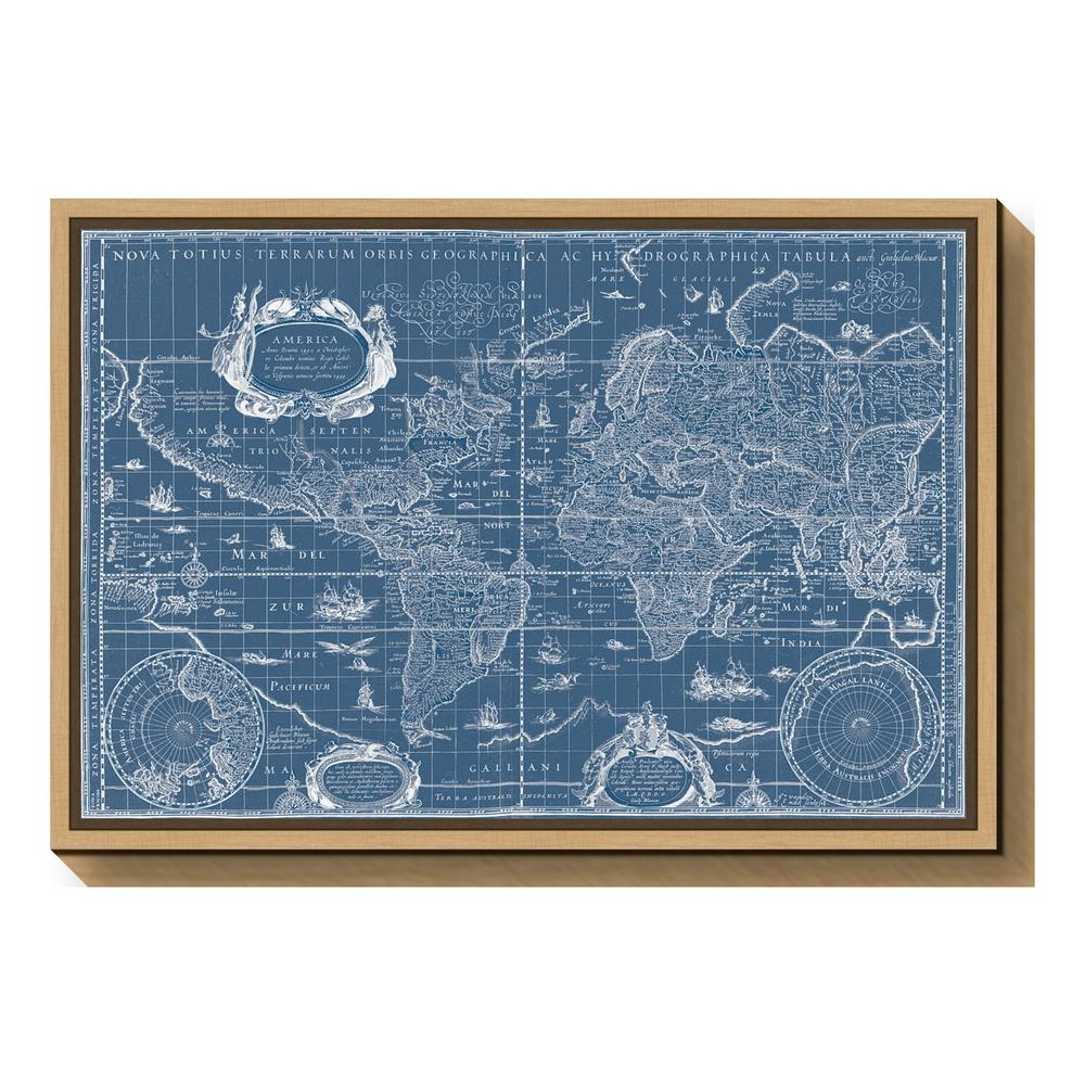 Blaeu World Map.Amanti Art Blueprint World Map By Willem Blaeu Framed Canvas Wall