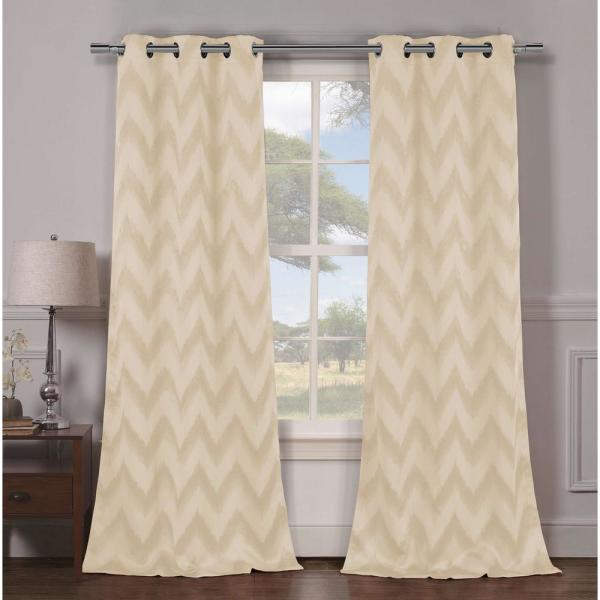 Blackout Lysanna 84 in. L Blackout Grommet Panel in Champagne (2-Pack)