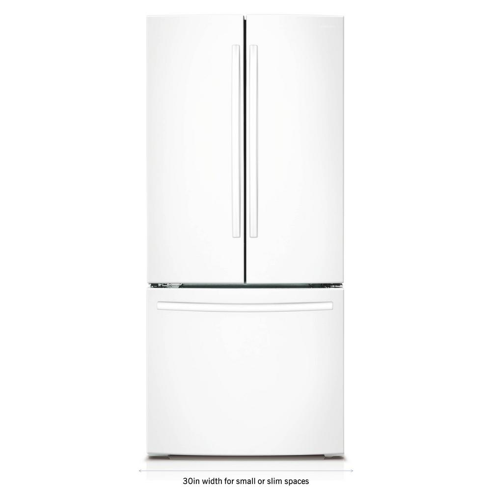 30 in. W 21.8 cu. ft. French Door Refrigerator in White