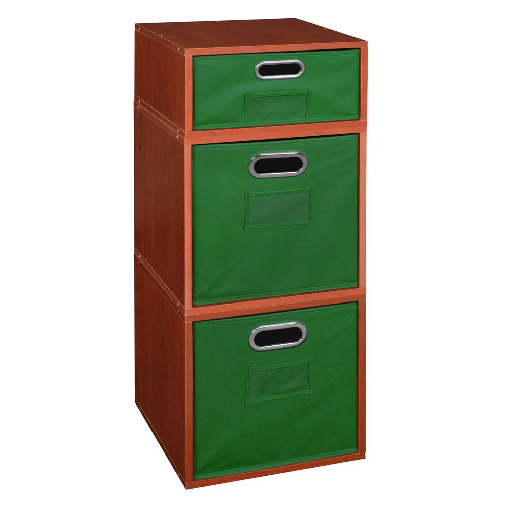 Cherry 2 Full Cube And 1 Half Organizer With Green Foldable Storage Bins