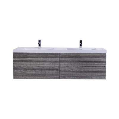 Bohemia 72 in. W Bath Vanity in High Gloss Ash Gray with Reinforced Acrylic Vanity Top in White with White Basins