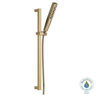 Zura 5-Spray Hand Shower with Wall Bar and H2Okinetic Spray in Champagne Bronze