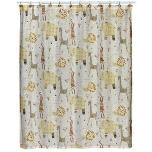Animal Crackers 72 in. x 72 in. 100% Animal Print Cotton Shower Curtain