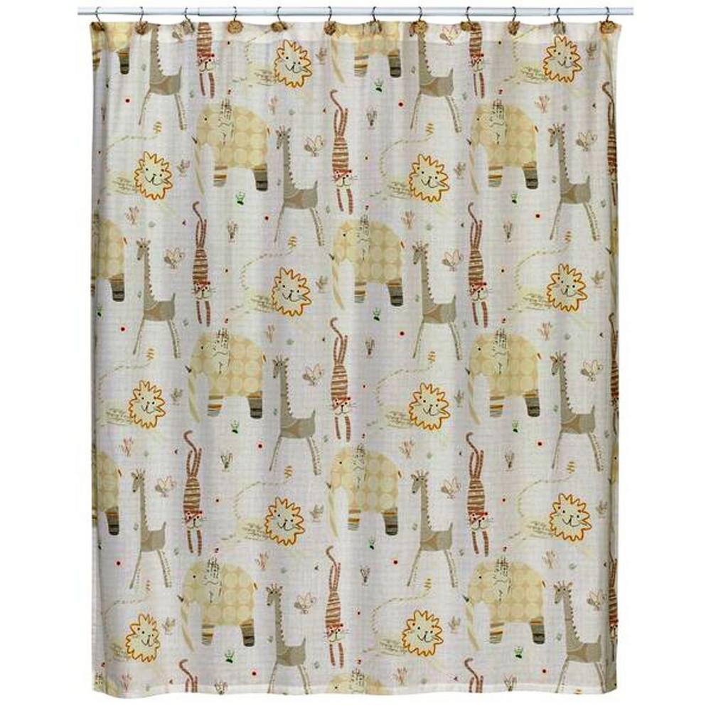 Creative Bath Animal Crackers 72 inch x 72 inch 100% Animal Print Cotton Shower Curtain by Creative Bath