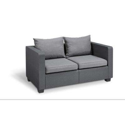 Salta Graphite Resin Plastic Outdoor Loveseat with Flanelle Cushions