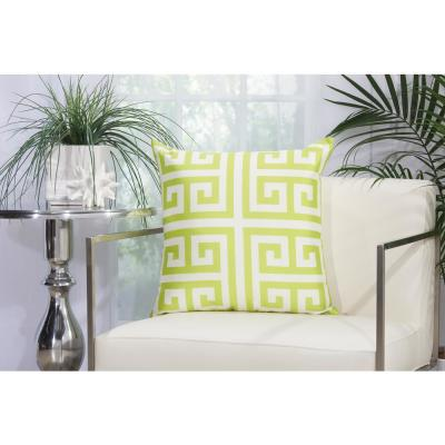 Greek Key Apple Green Geometric Stain Resistant Polyester 20 in. x 20 in. Throw Pillow