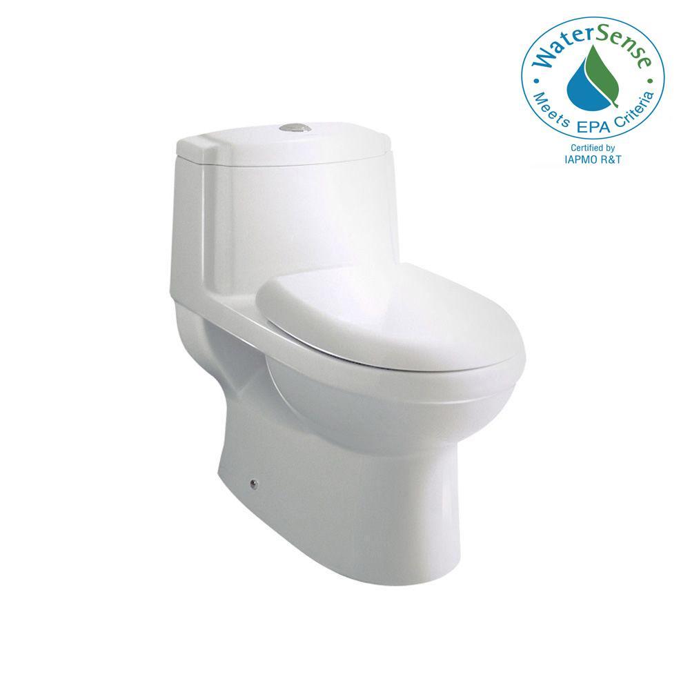 Ariel Platinum Contemporary 1-Piece 1.28 GPF Single Flush Elongated Toilet in White