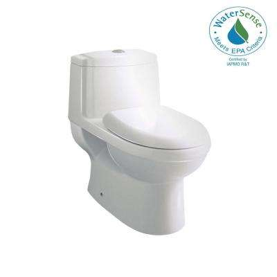 Contemporary 1-Piece 1.28 GPF Single Flush Elongated Toilet in White