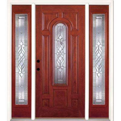63.5 in.x81.625in.Lakewood Zinc Center Arch Lt Stained Cherry Mahogany Rt-Hd Fiberglass Prehung Front Door w/ Sidelites