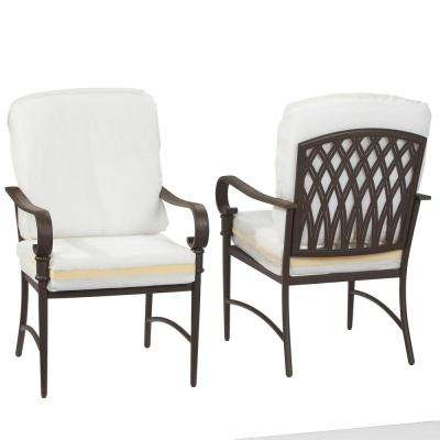 Oak Cliff Brown Steel Outdoor Patio Dining Chair with Bare Cushions (2-Pack)