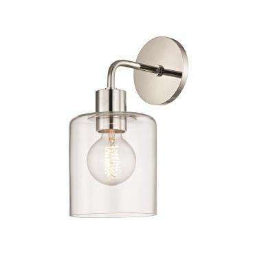 Neko 1-Light Polished Nickel Wall Sconce with Clear Glass