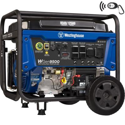 WGen9500 12,500/9,500 Watt Gas Powered Portable Generator with Remote Start and Transfer Switch Outlet for Home Backup