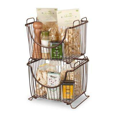 Ashley 12.625 in. W x 11 in. D x 10.75 in. H Large Stacking Basket in Bronze